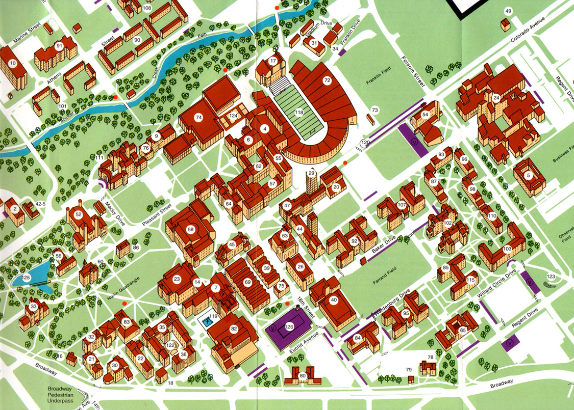 University Of Colorado At Boulder Campus Map J B Krygier 1988